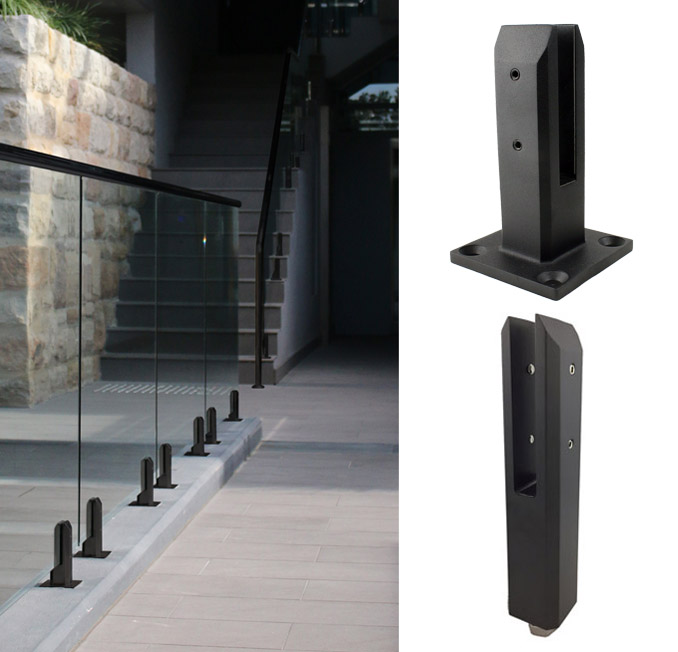 Black Glass Pool Fence Spigots Stainless Glass Clamps