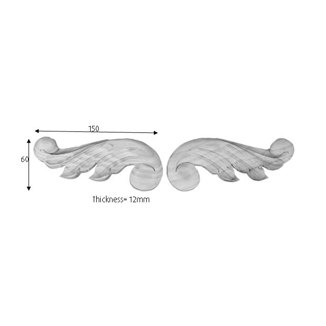 150x60x12 L1 Leaf Timber Corbel Pair