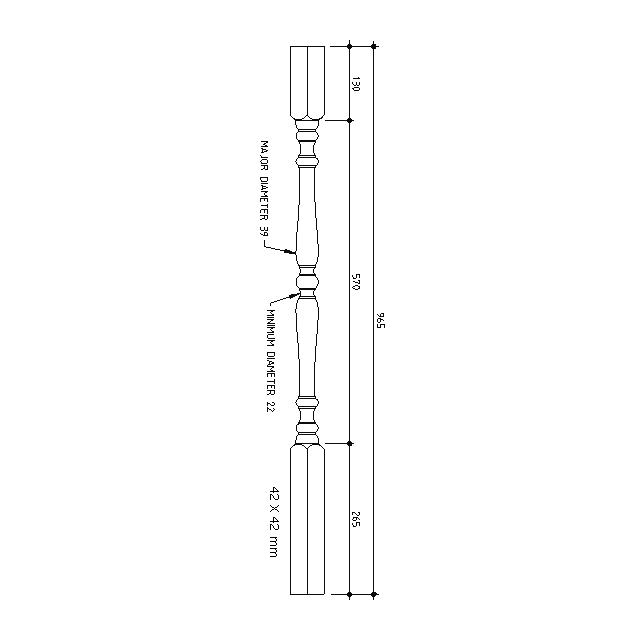 No.1 Turned Timber Balusters 1000x42sq (Vic Ash)