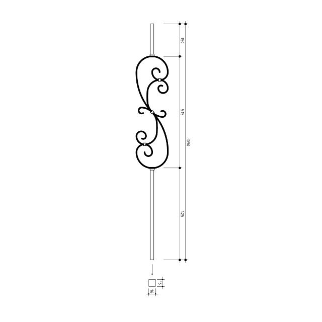 16mm square S Scroll Metal Balusters