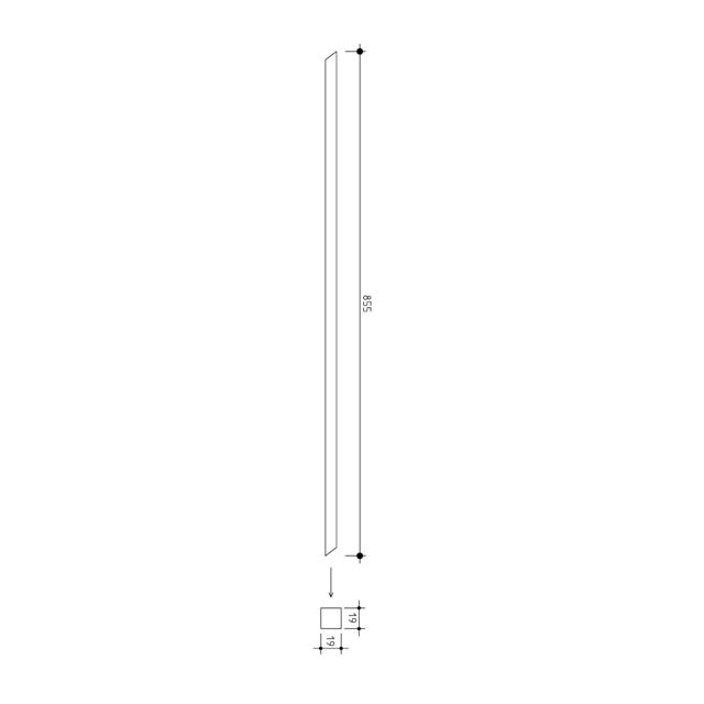 19 square x 855mm Stainless Baluster (304 Satin)