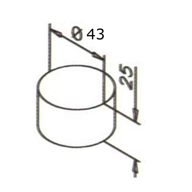 Designer Handrail - 43mm diam - Flat End Cap (Mirror)