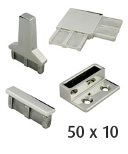 50 x 10mm Rectangle Stainless Steel Tube Fittings