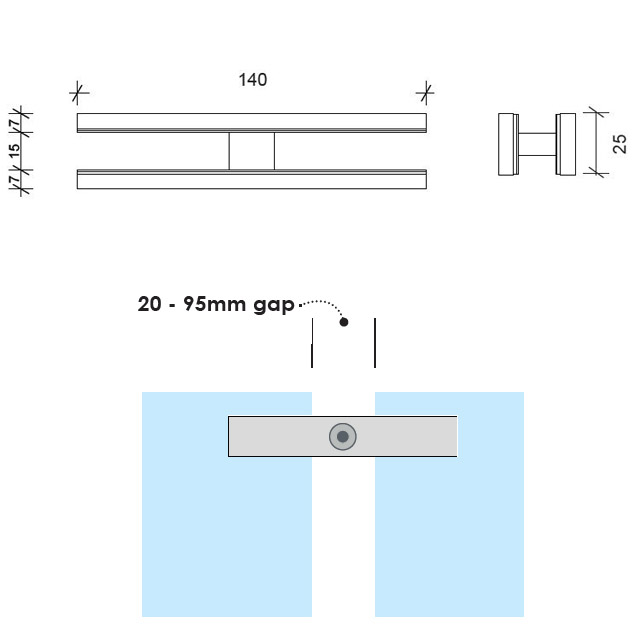 180 degree Glass to Glass Connector (Long) - Mirror