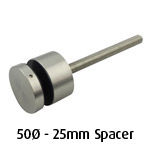 50mm diam Glass Standoff - 25mm Spacer - Satin