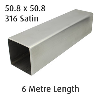 Square Tube 50.8x50.8 (304 Satin) - 6 metre Length