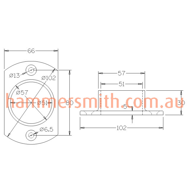 Oblong Base Plate for 50.8 Round Mirror Tube