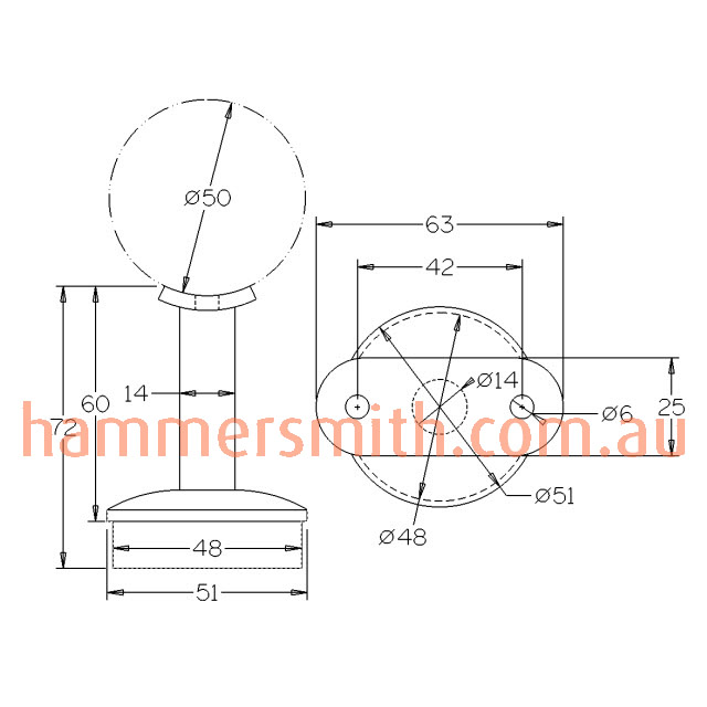 Round Rail Support for 50.8 Round Mirror Tube