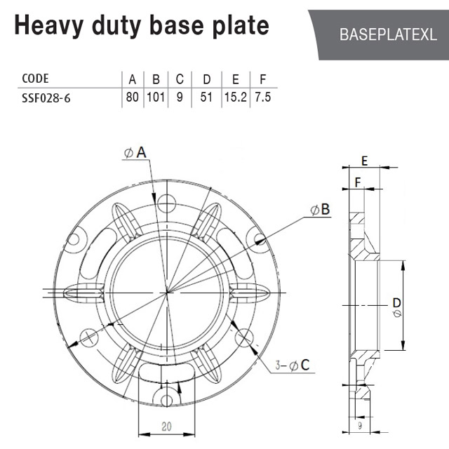Base Plate (Heavy Duty) for 50.8 Round Tube