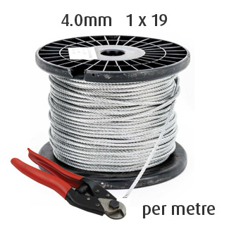 4.0mm Wire Cable Rope - 1x19 - per Metre