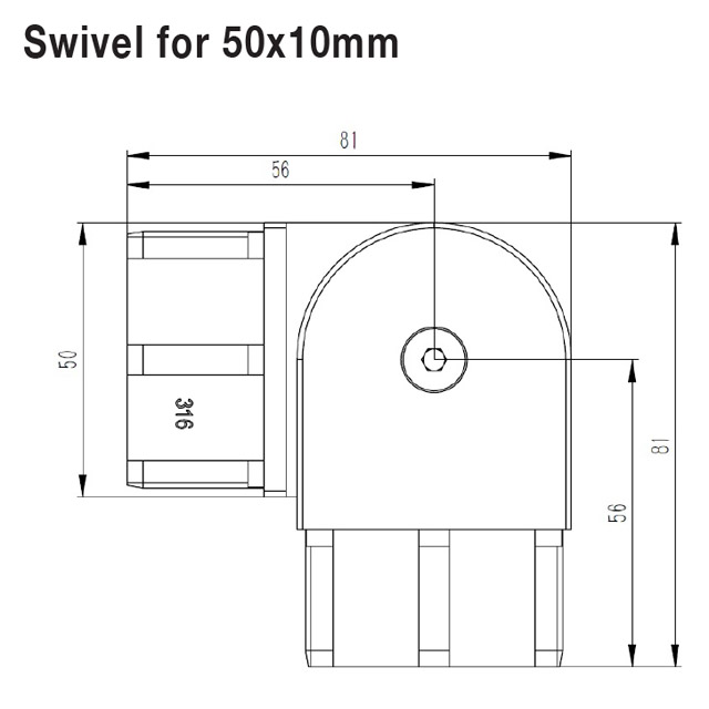 Swivel Joiner for 10x50 Rectangular Mirror Tube_3