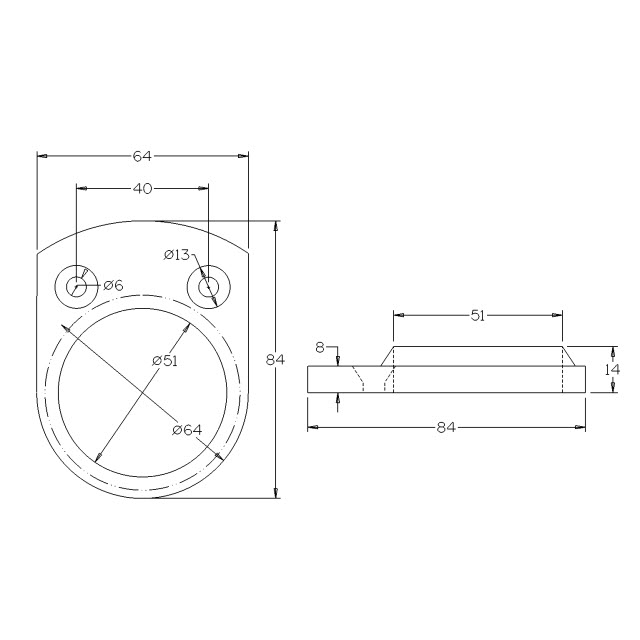 Handrail Wall Flange for 50.8 Round Mirror Tube_2