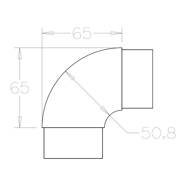 90 degree Radiused Bend for 50.8 Round Mirror Tube_3