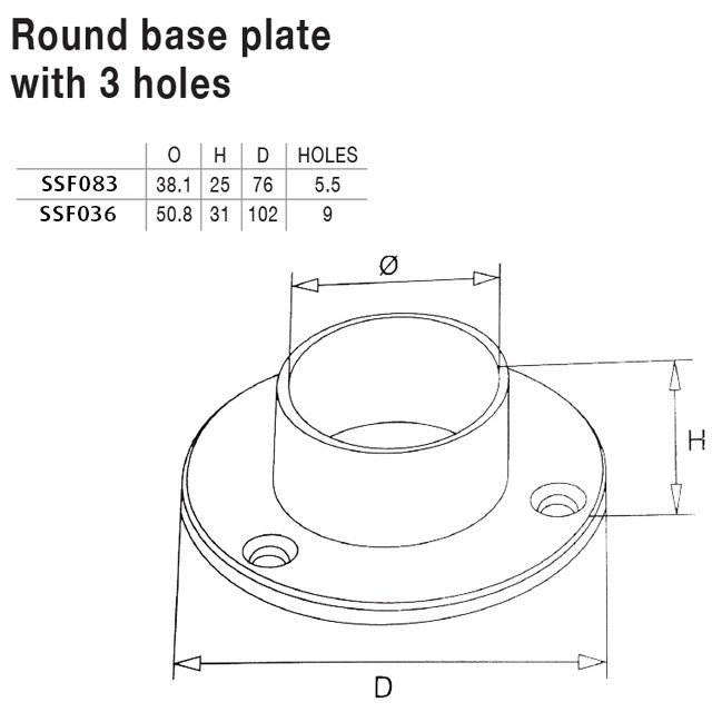Round Base Plate for 38.1 Round Mirror Tube_2