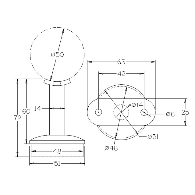 Round Rail Support for 50.8 Round Mirror Tube_3