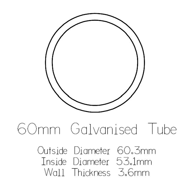 60mm Round Galvanised Pipe - 1 metre Length_2