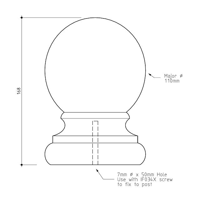 Ball Fence Post Capitals 110 diameter_2