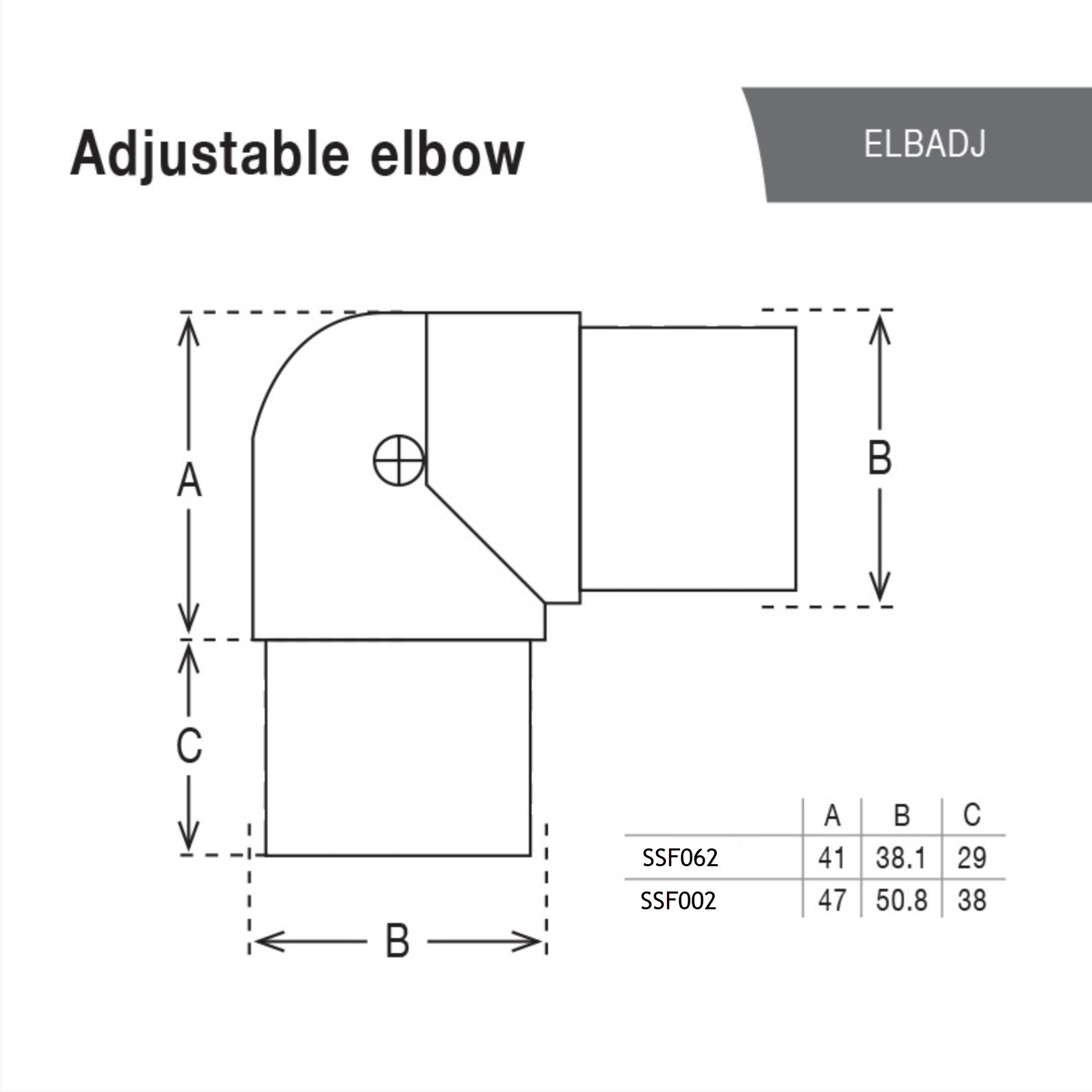 Adjustable Angle Bend for 50.8 Round Satin Tube_3