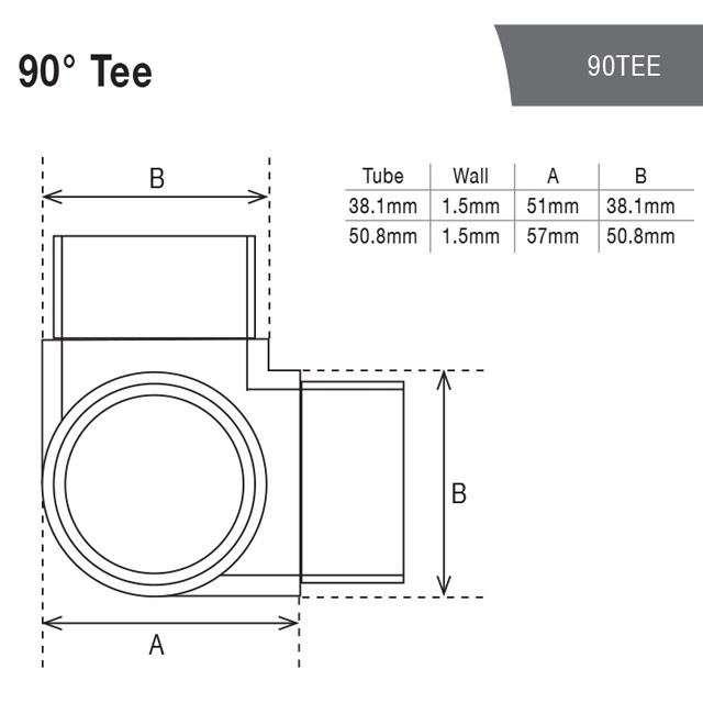 90 degree T for 38.1 Round Mirror Tube_3