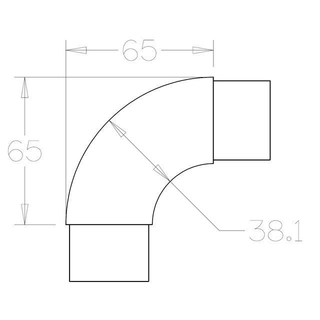90 degree Radiused Bend for 38.1 Round Satin Tube_3