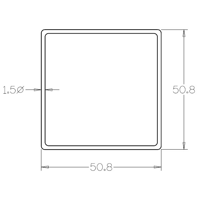 Square Tube 50.8x50.8 (316 Mirror) - 6 metre Length_2
