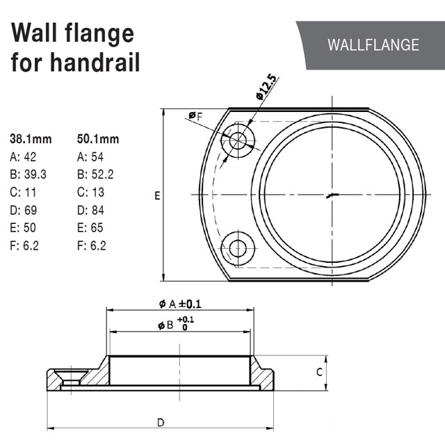 Handrail Wall Flange for 38.1 Round Mirror Tube_2
