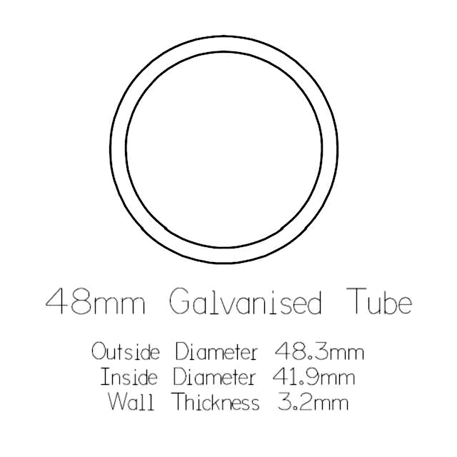 48mm Round Galvanised Pipe - 1 metre Length_2