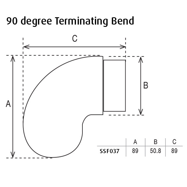 90 degree Terminating Bend for 50.8 Round Mirror Tube_3