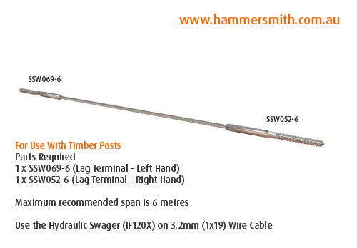 Lag Terminal (Left Hand) - 3.2mm Wire (Hydraulic Swager)_2