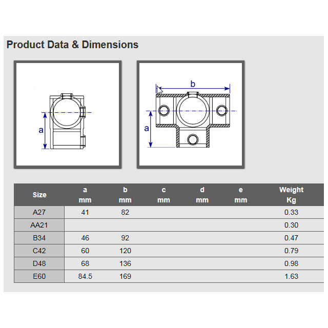 3-Ways Centre Cross for 34mm Galvanised Pipe_2