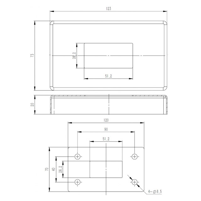 Base Plate and Cover for 25x50 Rectangular Mirror Tube_3