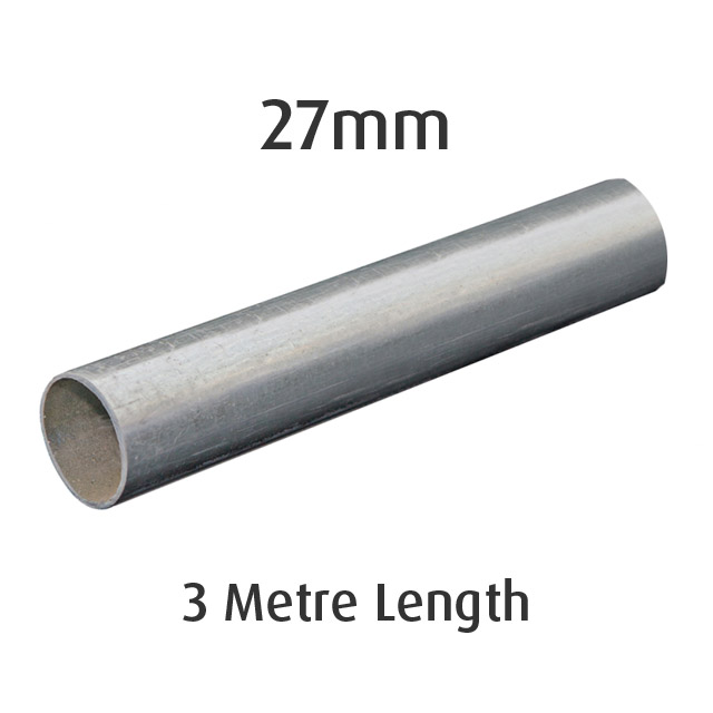 27mm Round Galvanised Pipe - 3 metre Length_1