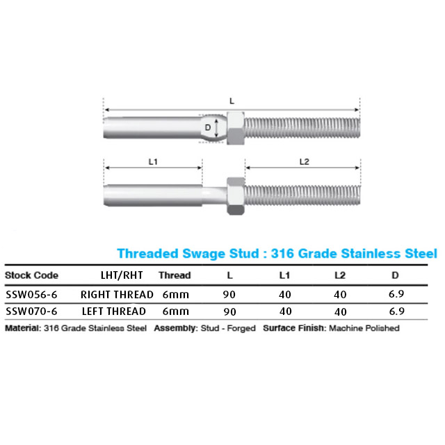 Thread M6 Terminal (Right Hand) - 3.2mm Wire (Hydraulic Swager)_4