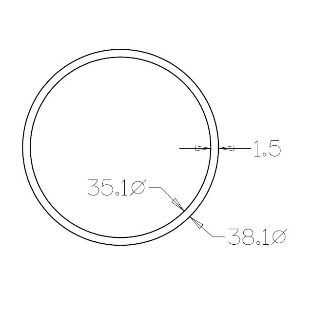 Round Tube 38.1 diameter (316 Satin) - 3 metre Length_2