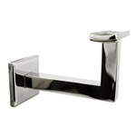 80mm Square Handrail Bracket - Curved Cradle (Mirror)