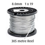 8.0mm Wire Cable Rope - 1x19 - 305 metre Reel