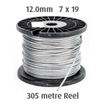 12.0mm Wire Cable Rope - 7x19 - 305 metre Reel