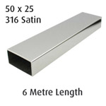 Rectangle Tube 50x25 (316 Satin) - 6 metre Length