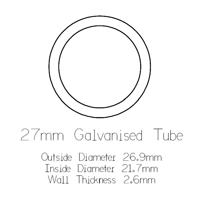 27mm Round Galvanised Pipe - 1 metre Length