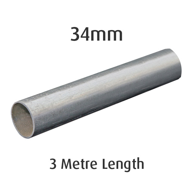 34mm Round Galvanised Pipe - 3 metre Length