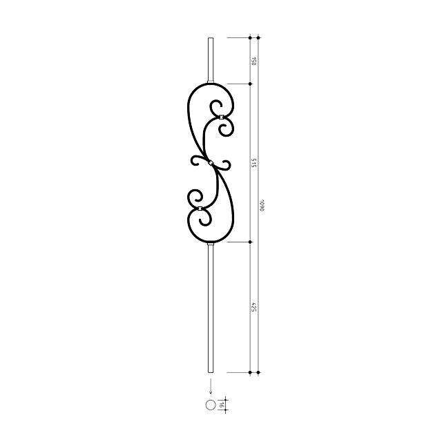 16mm round S Scroll Metal Balusters
