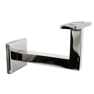 80mm Square Handrail Bracket - Flat Cradle (Mirror)