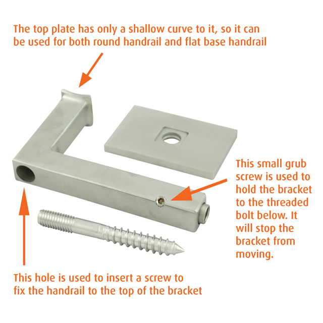85mm Square Handrail Brackets (Satin)
