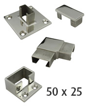 50 x 25mm Rectangle Stainless Steel Tube Fittings