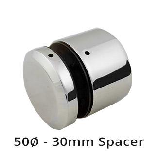 50mm diam Glass Standoff - 30mm Spacer - Mirror
