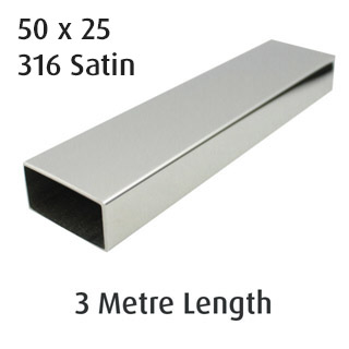 Rectangle Tube 50x25 (316 Satin) - 3 metre Length