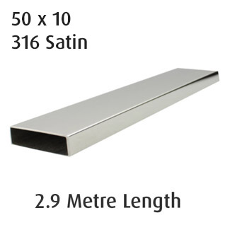 Rectangle Tube 50x10 (316 Satin) - 2.9 metre Length