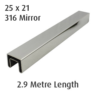 Rectangle Slotted Tube 25x21 (316 Mirror) - 2.9 metre Length