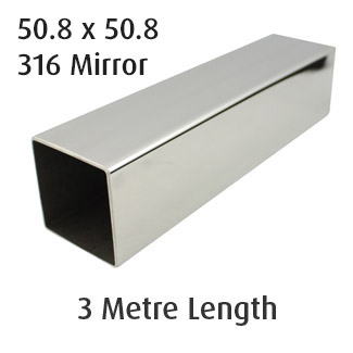 Square Tube 50.8x50.8 (316 Mirror) - 3 metre Length