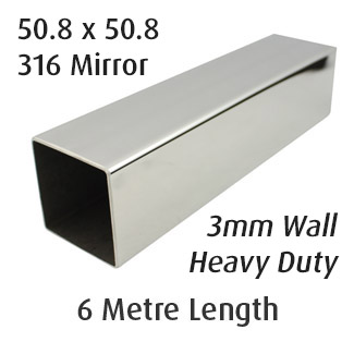 Square Tube 50.8x50.8 - 3mm Wall - (316 Mirror) - 6m Length